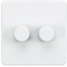 SF2182MW Screwless 2G 2-way 10-200W (5-150W LED) trailing edge dimmer - Matt Whi