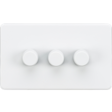 SF2183MW Screwless 3G 2-way 10-200W (5-150W LED) trailing edge dimmer - Matt Whi