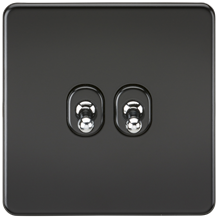 Screwless 10A 2G 2-Way Toggle Switch - Matt Black with chrome toggles