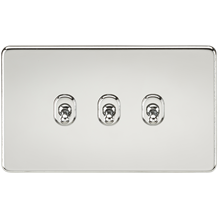 Screwless 10A 3G 2-Way Toggle Switch - Polished Chrome