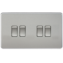 Screwless 10A 4G 2-Way Switch - Brushed Chrome