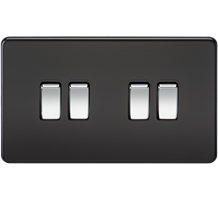 Screwless 10A 4G 2-Way Switch - Matt Black with Chrome Rocker