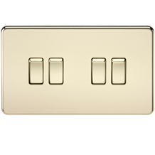 Screwless 10A 4G 2-Way Switch - Polished Brass
