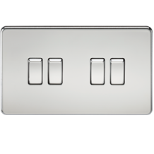 Screwless 10A 4G 2-Way Switch - Polished Chrome