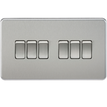 SF4200BC Screwless 10AX 6G 2-way Switch - Brushed Chrome