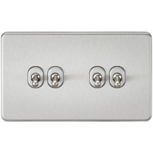 Screwless 10A 4G 2-Way Toggle Switch - Brushed Chrome