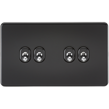 Screwless 10A 4G 2-Way Toggle Switch - Matt Black with chrome toggles