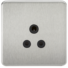 SF5ABC Screwless 5A Unswitched Socket - Brushed Chrome with Black Insert
