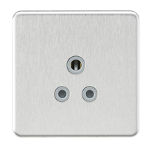 Screwless 5A Unswitched Round Socket - Brushed Chrome with Grey Insert