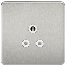 SF5ABCW Screwless 5A Unswitched Socket - Brushed Chrome with White Insert