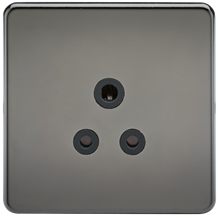 SF5ABN Screwless 5A Unswitched Socket - Black Nickel with Black Insert