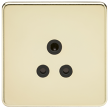 SF5APB Screwless 5A Unswitched Socket - Polished Brass with Black Insert