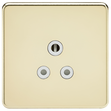 SF5APBW Screwless 5A Unswitched Socket - Polished Brass with White Insert