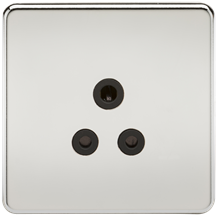 SF5APC Screwless 5A Unswitched Socket - Polished Chrome with Black Insert