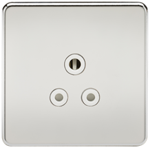 SF5APCW Screwless 5A Unswitched Socket - Polished Chrome with White Insert