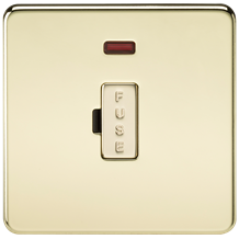 SF6000NPB Screwless 13A Fused Spur Unit with Neon - Polished Brass