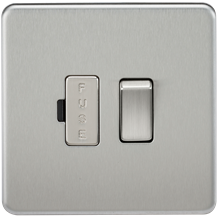 SF6300BC Screwless 13A Switched Fused Spur Unit - Brushed Chrome