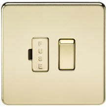 SF6300PB Screwless 13A Switched Fused Spur Unit - Polished Brass