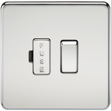 Screwless 13A Switched Fused Spur Unit - Polished Chrome