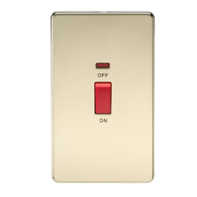 SF8332NPB Screwless 45A 2G DP Switch with Neon - Polished Brass