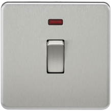 Screwless 20A 1G DP Switch with Neon - Brushed Chrome