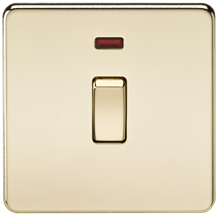 SF8341NPB Screwless 20A 1G DP Switch with Neon - Polished Brass
