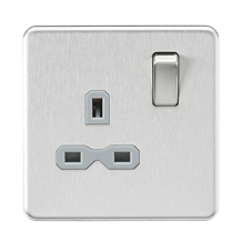 SFR7000BCG Screwless 13A 1G DP switched Socket - Brushed Chrome with grey Insert