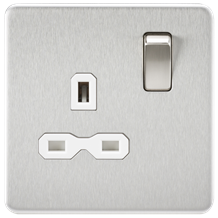 SFR7000BCW Screwless 13A 1G DP switched Socket - Brushed Chrome with white Inser
