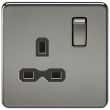 SFR7000BN Screwless 13A 1G DP switched socket - black nickel with black insert