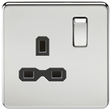 Screwless 13A 1G DP switched socket - polished chrome with black insert