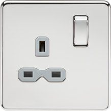 Screwless 13A 1G DP switched socket - polished chrome with grey insert