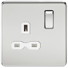 Screwless 13A 1G DP switched socket - polished chrome with white insert