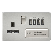 Screwless 13A switched socket with quad USB charger (5.1A) - brushed chrome with