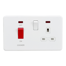 Screwless 45A DP switch and 13A switched socket with neons - matt white