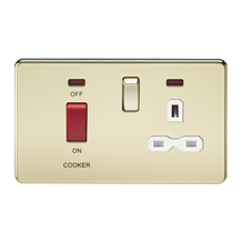 Screwless 45A DP switch and 13A switched socket with neons - polished brass with