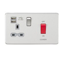 SFR8333UBCG 45A DP Switch & 13A Switched Socket with Dual USB Charger 2.4A - Bru