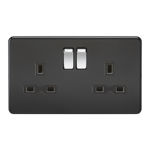 SFR9000MB Screwless 13A 2G DP switched socket - matt black with black insert and