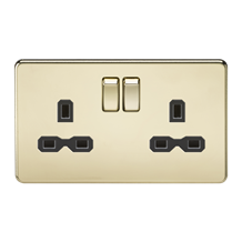 SFR9000PB Screwless 13A 2G DP switched socket - polished brass with black insert