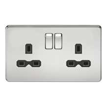 SFR9000PC Screwless 13A 2G DP switched socket - polished chrome with black inser