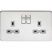SFR9000PCG Screwless 13A 2G DP switched socket - polished chrome with grey inser