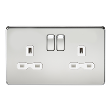 SFR9000PCW Screwless 13A 2G DP switched socket - polished chrome with white inse