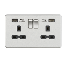 SFR9224BC 13A 2G Switched Socket with Dual USB Charger (2.4A) - Brushed Chrome w