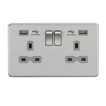 SFR9224BCG 13A 2G Switched Socket with Dual USB Charger (2.4A) - Brushed Chrome