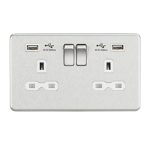 SFR9224BCW 13A 2G Switched Socket with Dual USB Charger (2.4A) - Brushed Chrome