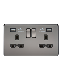 SFR9224BN 13A 2G Switched Socket with Dual USB Charger (2.4A) - Black Nickel wit