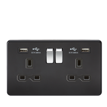 SFR9224MB 13A 2G Switched Socket with Dual USB Charger (2.4A) - Matt Black with