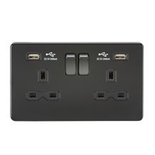 SFR9224MBB 13A 2G Switched Socket with Dual USB Charger (2.4A) - Matt Black