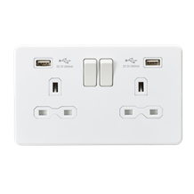 SFR9224MW 13A 2G Switched Socket with Dual USB Charger (2.4A) - Matt White