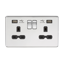 SFR9224PC 13A 2G Switched Socket with Dual USB Charger (2.4A) - Polished Chrome