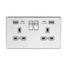 SFR9224PCG 13A 2G Switched Socket with Dual USB Charger (2.4A) - Polished Chrome